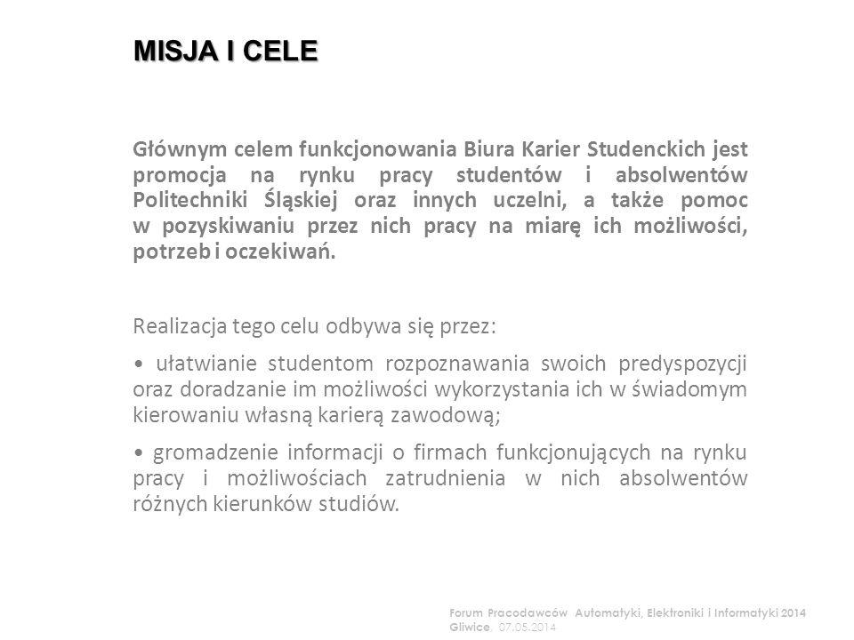 MISJA I CELE Głównym celem funkcjonowania Biura Karier Studenckich jest promocja na rynku pracy studentów i absolwentów Politechniki Śląskiej oraz innych uczelni, a także pomoc w pozyskiwaniu przez nich pracy na miarę ich możliwości, potrzeb i oczekiwań.