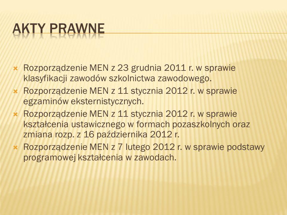  Rozporządzenie MEN z 23 grudnia 2011 r.w sprawie klasyfikacji zawodów szkolnictwa zawodowego.