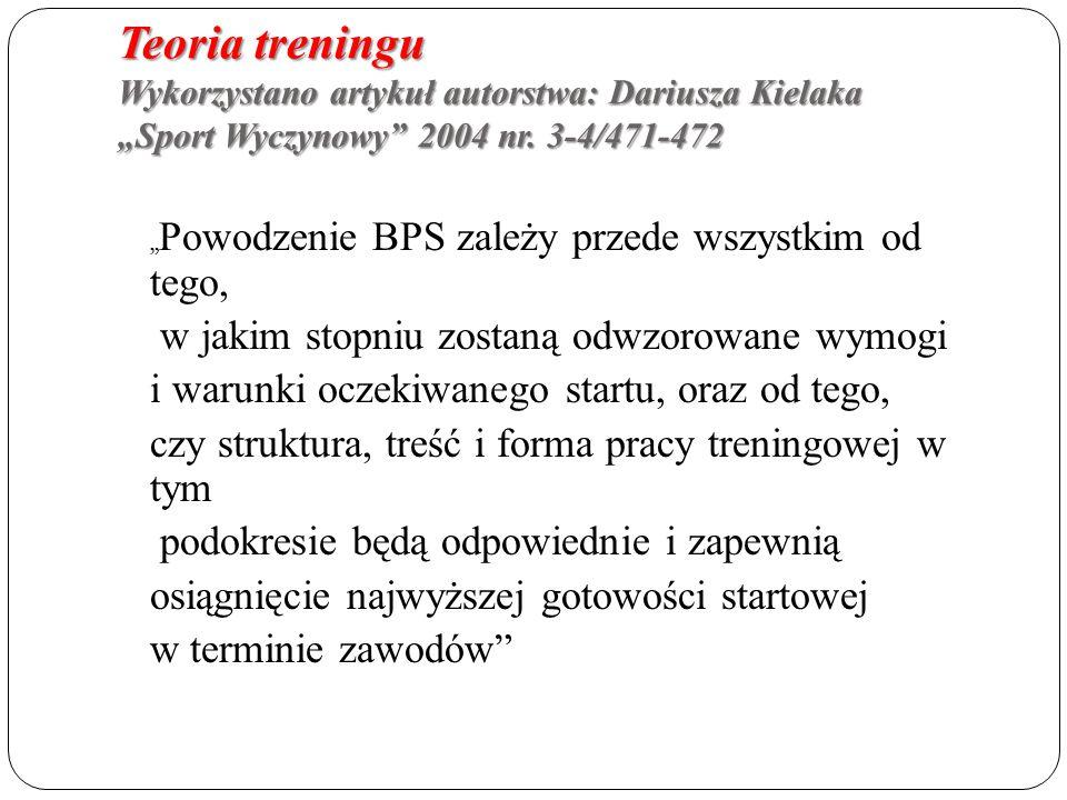 """Teoria treningu Wykorzystano artykuł autorstwa: Dariusza Kielaka """"Sport Wyczynowy 2004 nr."""