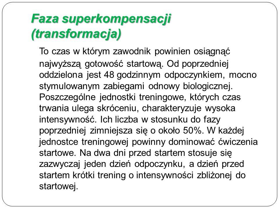 Faza superkompensacji (transformacja) To czas w którym zawodnik powinien osiągnąć najwyższą gotowość startową.
