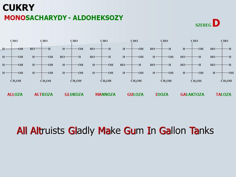 CUKRY ALLOZAALTROZAGALAKTOZAGLUKOZAGULOZAIDOZAMANNOZATALOZA SZEREG D All Altruists Gladly Make Gum In Gallon Tanks MONOSACHARYDY - ALDOHEKSOZY