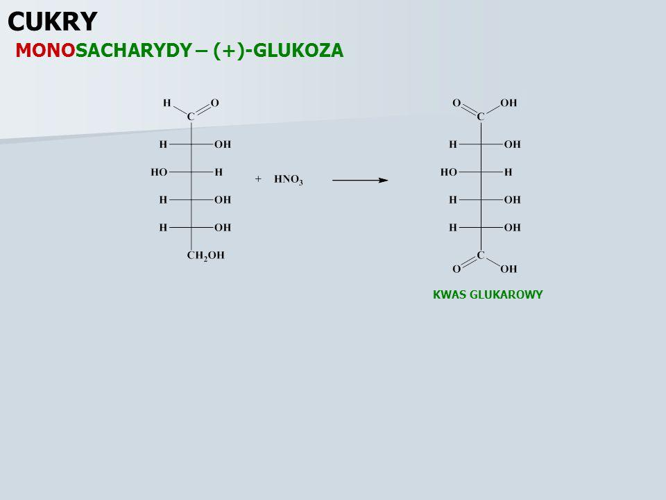 CUKRY MONOSACHARYDY – (+)-GLUKOZA KWAS GLUKAROWY