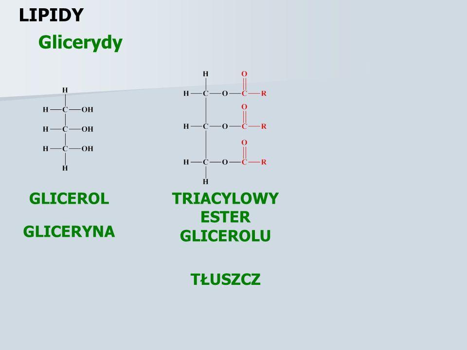 LIPIDY Kwasy tłuszczowe Lp.Nazwa zwyczajowaNazwa systematyczna Wzór półstrukturalny R-COOH 1.Kwas masłowyKwas butanowyCH 3 (CH 2 ) 2 COOH 2.Kwas walerianowyKwas pentanowyCH 3 (CH 2 ) 3 COOH 3.Kwas kapronowyKwas heksanowyCH 3 (CH 2 ) 4 COOH 4.Kwas kaprylowyKwas oktanowyCH 3 (CH 2 ) 6 COOH 5.Kwas pelargonowyKwas nonanowyCH 3 (CH 2 ) 7 COOH 6.Kwas kaprynowyKwas dekanowyCH 3 (CH 2 ) 8 COOH 7.Kwas laurynowyKwas dodekanowyCH 3 (CH 2 ) 10 COOH 8.Kwas mirystynowyKwas tetradekanowyCH 3 (CH 2 ) 12 COOH 9.Kwas palmitynowyKwas heksadekanowyCH 3 (CH 2 ) 14 COOH 10.Kwas stearynowyKwas oktadekanowyCH 3 (CH 2 ) 16 COOH 11.Kwas arachidowyKwas eikozanowyCH 3 (CH 2 ) 18 COOH 12.Kwas behenowyKwas dokozanowyCH 3 (CH 2 ) 20 COOH 13.