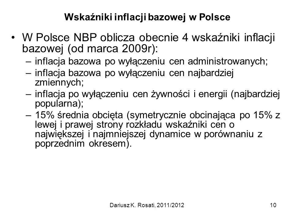 Wskaźniki inflacji bazowej w Polsce W Polsce NBP oblicza obecnie 4 wskaźniki inflacji bazowej (od marca 2009r): –inflacja bazowa po wyłączeniu cen adm