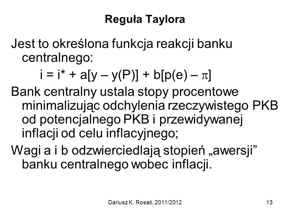 Reguła Taylora Jest to określona funkcja reakcji banku centralnego: i = i* + a[y – y(P)] + b[p(e) –  ] Bank centralny ustala stopy procentowe minimal