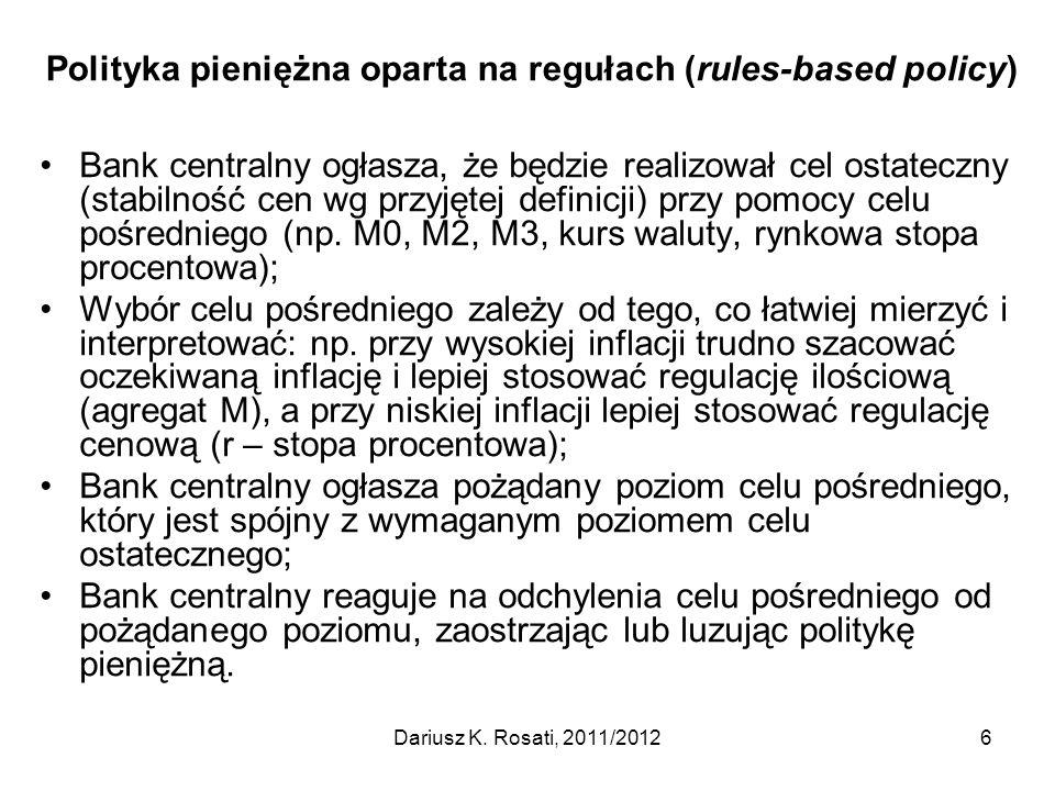 Polityka pieniężna oparta na regułach (rules-based policy) Bank centralny ogłasza, że będzie realizował cel ostateczny (stabilność cen wg przyjętej de