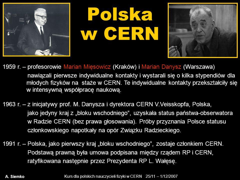 Kurs dla polskich nauczycieli fizyki w CERN 25/11 – 1/12/2007 Polska w CERN A. Siemko 1959 r. – profesorowie Marian Mięsowicz (Kraków) i Marian Danysz
