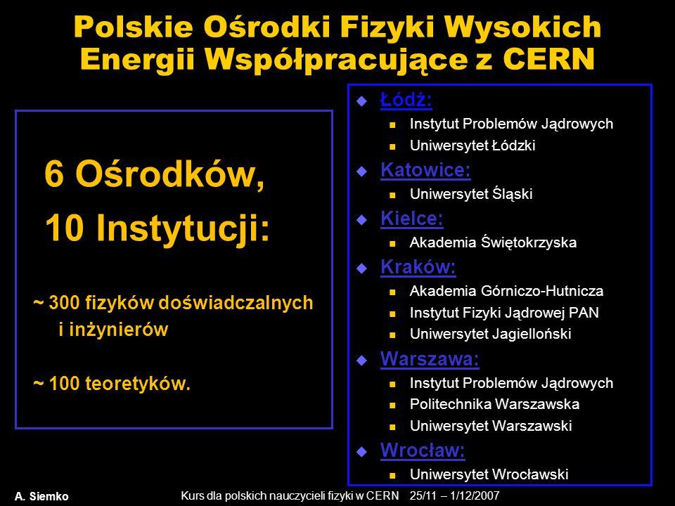 Kurs dla polskich nauczycieli fizyki w CERN 25/11 – 1/12/2007 Polskie Ośrodki Fizyki Wysokich Energii Współpracujące z CERN  Łódź: Instytut Problemów
