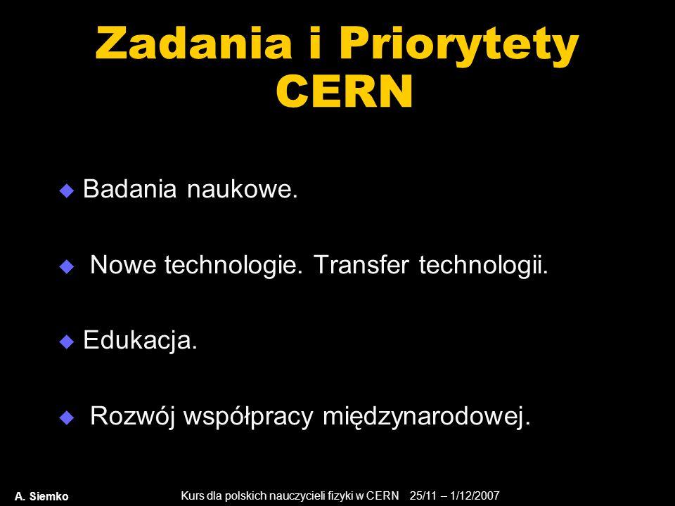 Kurs dla polskich nauczycieli fizyki w CERN 25/11 – 1/12/2007 A. Siemko Zadania i Priorytety CERN  Badania naukowe.  Nowe technologie. Transfer tech