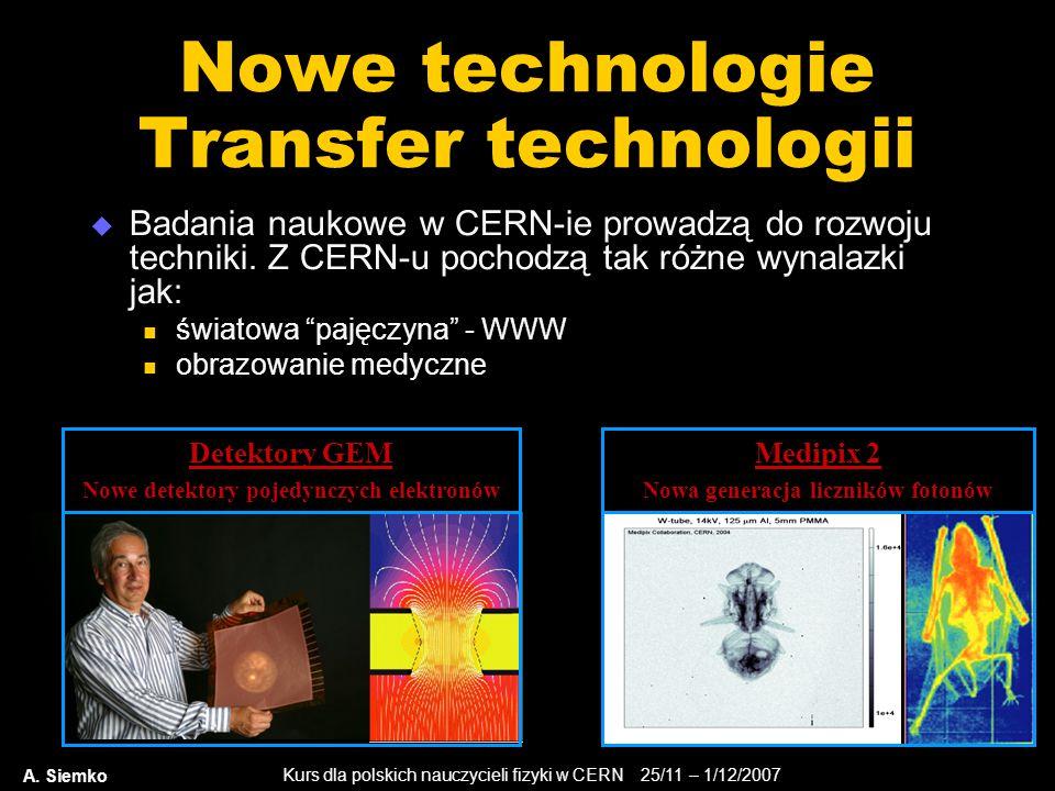 Kurs dla polskich nauczycieli fizyki w CERN 25/11 – 1/12/2007 A. Siemko Nowe technologie Transfer technologii  Badania naukowe w CERN-ie prowadzą do