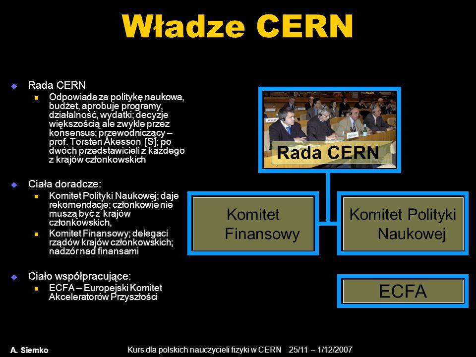 Kurs dla polskich nauczycieli fizyki w CERN 25/11 – 1/12/2007 A. Siemko Władze CERN  Rada CERN Odpowiada za politykę naukowa, budżet, aprobuje progra