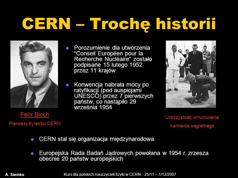 """Kurs dla polskich nauczycieli fizyki w CERN 25/11 – 1/12/2007 A. Siemko CERN – Trochę historii  Porozumienie dla utworzenia """"Conseil Européen pour la"""