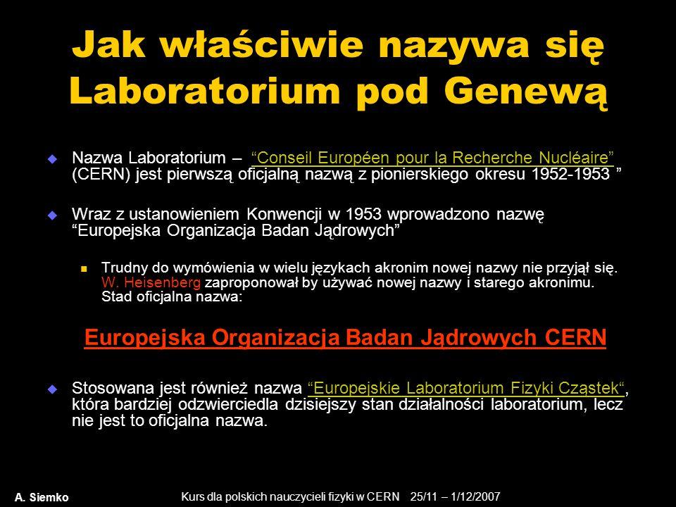 """Kurs dla polskich nauczycieli fizyki w CERN 25/11 – 1/12/2007 A. Siemko Jak właściwie nazywa się Laboratorium pod Genewą  Nazwa Laboratorium – """"Conse"""