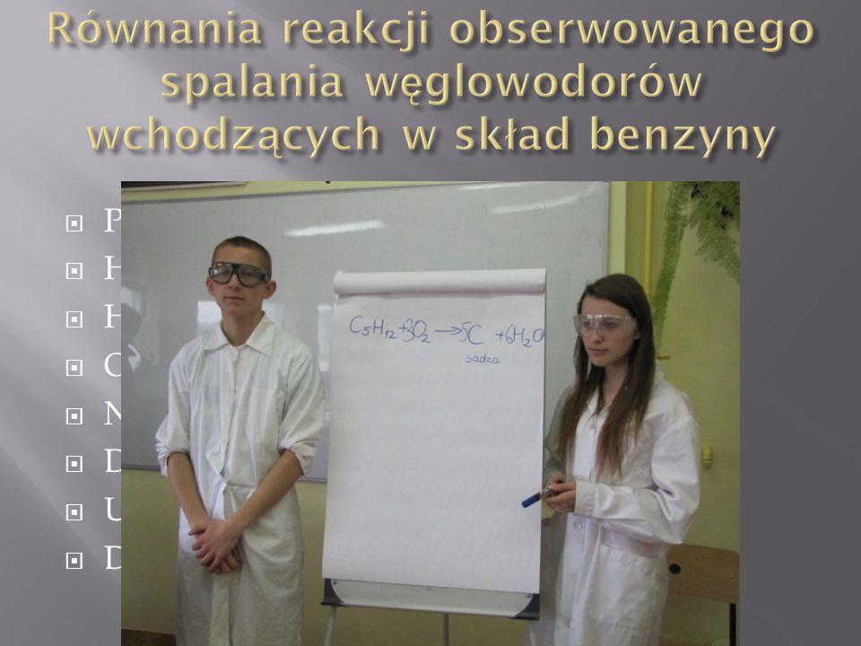  Pentan C 5 H 12 +3 O 2 → 5 C +6 H 2 O  Heksan 2C 6 H 14 +7 O 2 → 12 C +14 H 2 O  Heptan C 7 H 16 +4 O 2 → 7 C +8 H 2 O  Oktan 2C 8 H 18 +9 O 2 → 16 C +18 H 2 O  Nonan C 9 H 20 +5 O 2 → 9 C +10 H 2 O  Dekan 2C 10 H 22 +11 O 2 → 20 C +22 H 2 O  Undekan C 11 H 24 +6 O 2 → 11 C +12 H 2 O  Dodekan 2C 12 H 26 +13 O 2 → 24 C +26 H 2 O