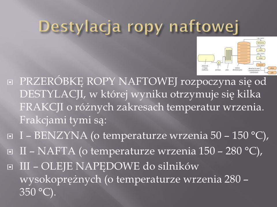  PRZERÓBKĘ ROPY NAFTOWEJ rozpoczyna się od DESTYLACJI, w której wyniku otrzymuje się kilka FRAKCJI o różnych zakresach temperatur wrzenia.