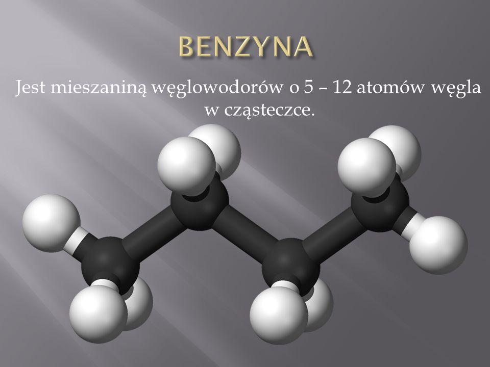 Jest mieszaniną węglowodorów o 5 – 12 atomów węgla w cząsteczce.