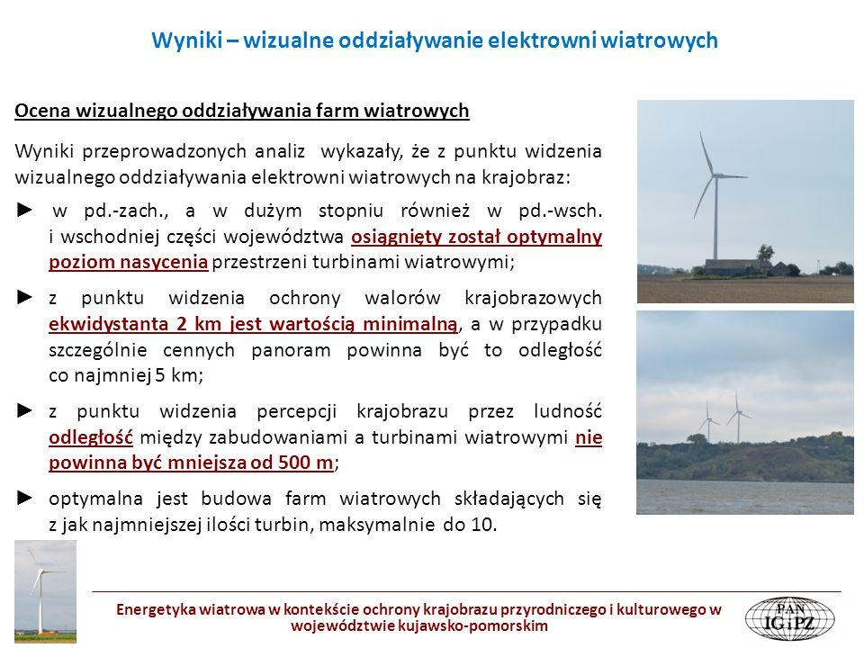 Wyniki – wizualne oddziaływanie elektrowni wiatrowych Energetyka wiatrowa w kontekście ochrony krajobrazu przyrodniczego i kulturowego w województwie