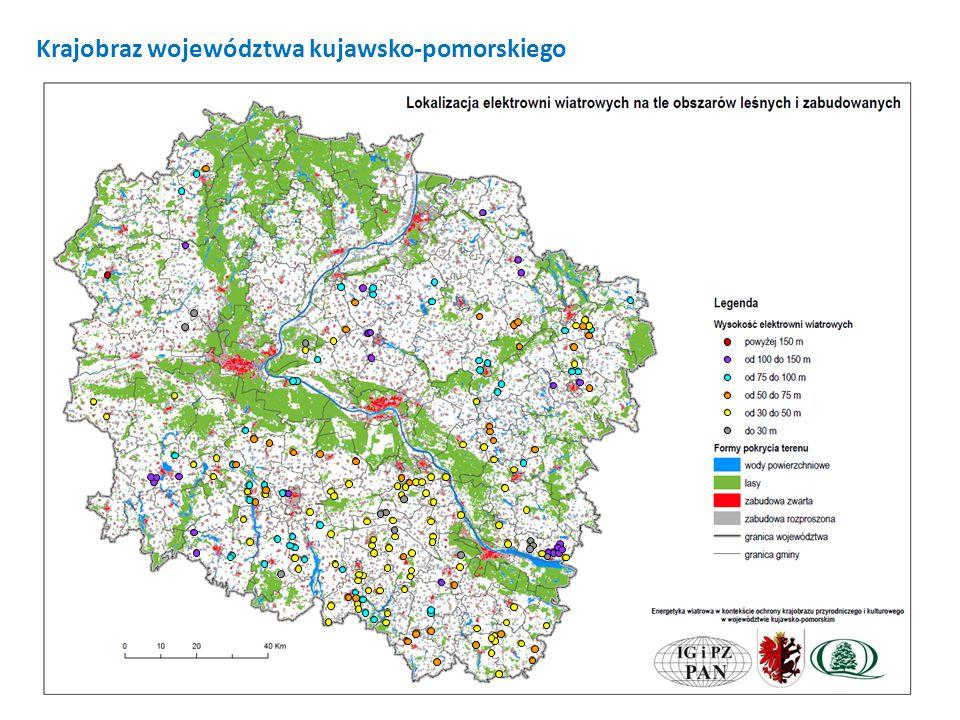 Energetyka wiatrowa w kontekście ochrony krajobrazu przyrodniczego i kulturowego w województwie kujawsko-pomorskim Zasięg stref widzialności elektrowni wiatrowych Strefa teoretycznej widzialności elektrowni wiatrowych w woj.