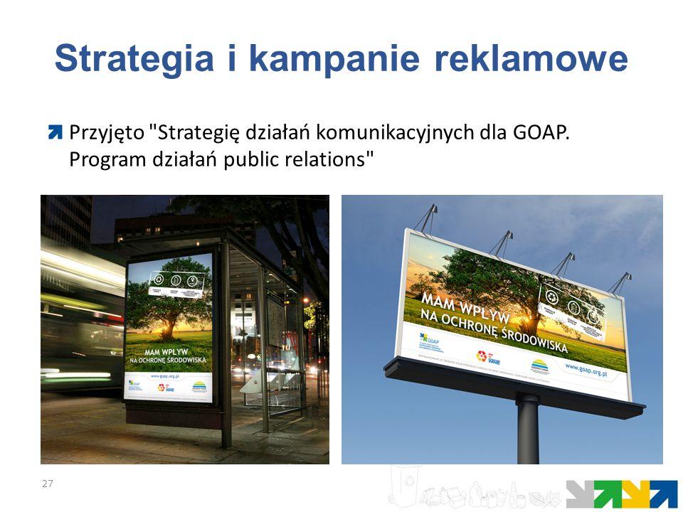 Strategia i kampanie reklamowe 27 Przyjęto Strategię działań komunikacyjnych dla GOAP.