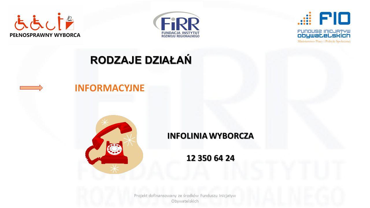 Projekt dofinansowany ze środków Funduszu Inicjatyw Obywatelskich RODZAJE DZIAŁAŃ INFORMACYJNE INFOLINIA WYBORCZA 12 350 64 24