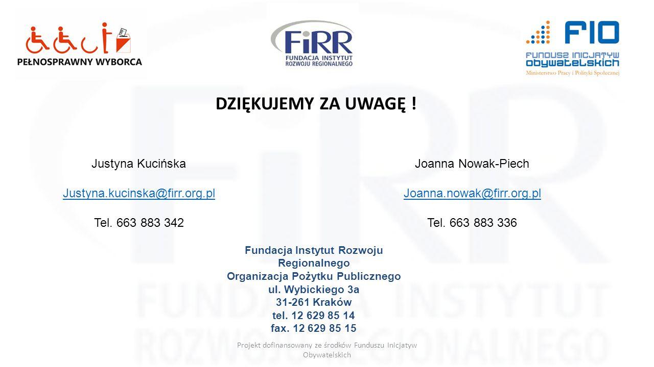 Projekt dofinansowany ze środków Funduszu Inicjatyw Obywatelskich DZIĘKUJEMY ZA UWAGĘ ! Justyna Kucińska Justyna.kucinska@firr.org.pl Tel. 663 883 342
