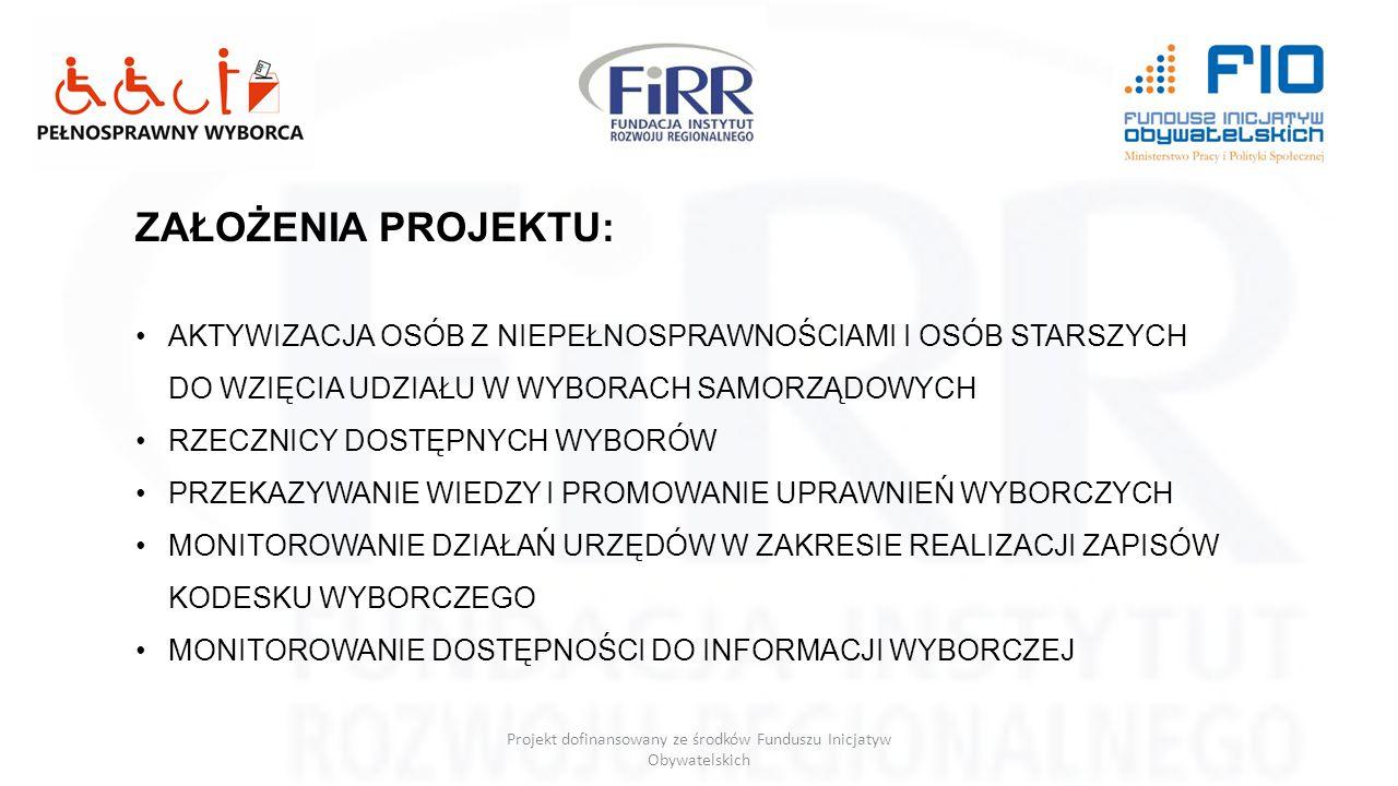 Projekt dofinansowany ze środków Funduszu Inicjatyw Obywatelskich RZECZNICY DOSTĘPNYCH WYBORÓW MIN.