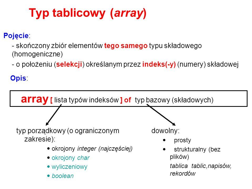 Typ tablicowy (array) array [ lista typów indeksów ] of typ bazowy (składowych) Pojęcie: - skończony zbiór elementów tego samego typu składowego (homo