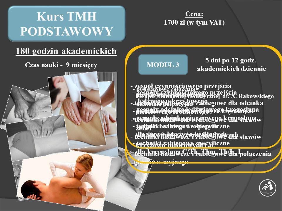 Kurs TMH PODSTAWOWY MODUŁ 1 Czas nauki - 9 miesięcy Cena: 1700 zł (w tym VAT) 180 godzin akademickich MODUŁ 2MODUŁ 3 Czas pomiędzy modułami – 3 miesiące