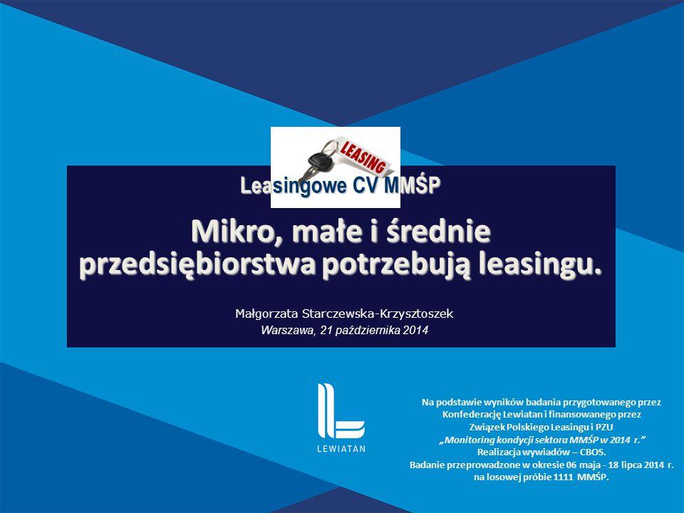 Leasingowe CV MMŚP Mikro, małe i średnie przedsiębiorstwa potrzebują leasingu. Na podstawie wyników badania przygotowanego przez Konfederację Lewiatan