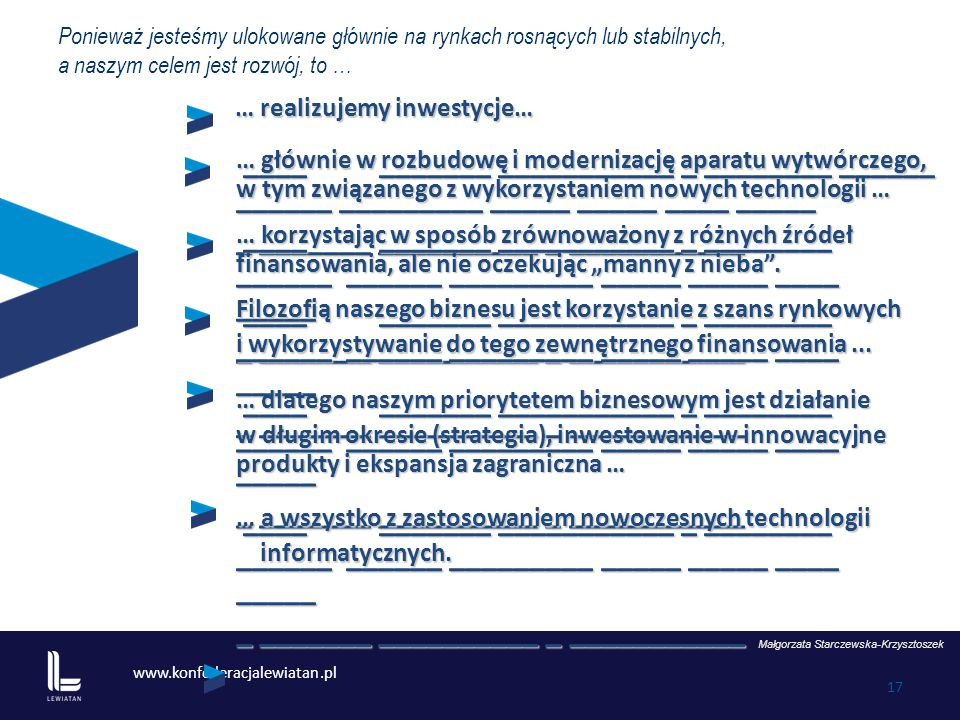 www.konfederacjalewiatan.pl 17 … realizujemy inwestycje… Małgorzata Starczewska-Krzysztoszek Ponieważ jesteśmy ulokowane głównie na rynkach rosnących