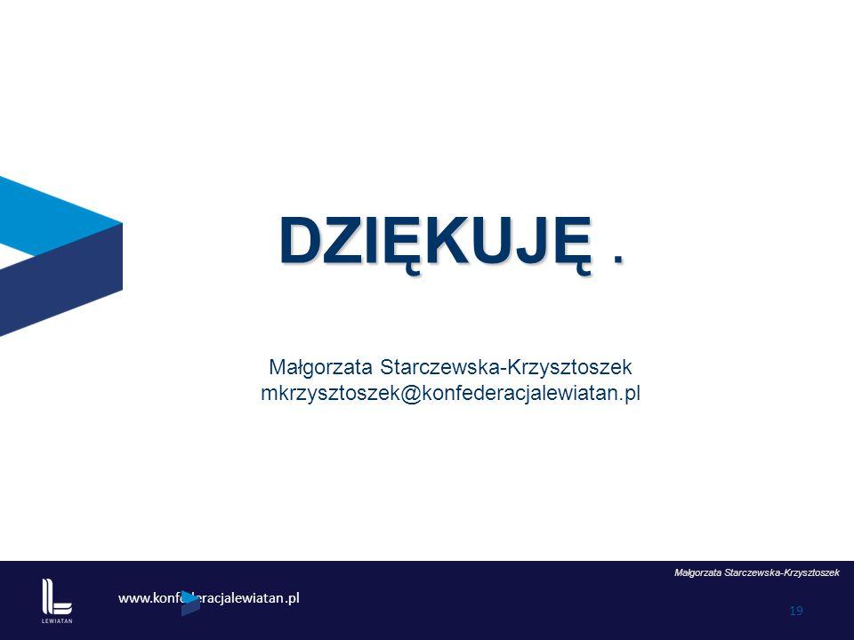 www.konfederacjalewiatan.pl 19 Małgorzata Starczewska-Krzysztoszek DZIĘKUJĘ. Małgorzata Starczewska-Krzysztoszek mkrzysztoszek@konfederacjalewiatan.pl