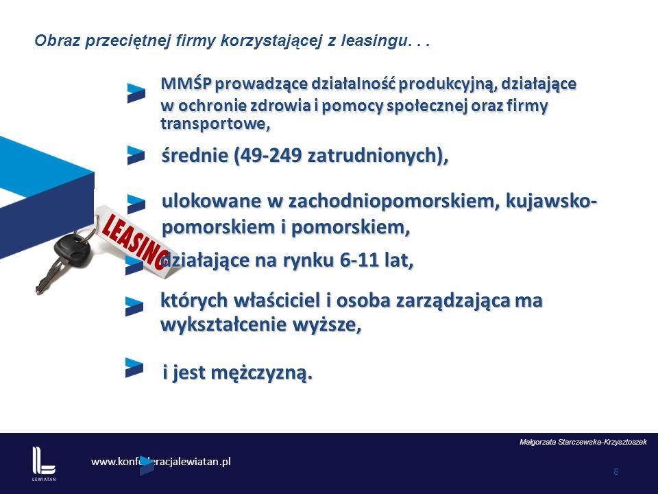 www.konfederacjalewiatan.pl 8 MMŚP prowadzące działalność produkcyjną, działające w ochronie zdrowia i pomocy społecznej oraz firmy transportowe, Małgorzata Starczewska-Krzysztoszek średnie (49-249 zatrudnionych), ulokowane w zachodniopomorskiem, kujawsko- pomorskiem i pomorskiem, działające na rynku 6-11 lat, których właściciel i osoba zarządzająca ma wykształcenie wyższe, i jest mężczyzną.