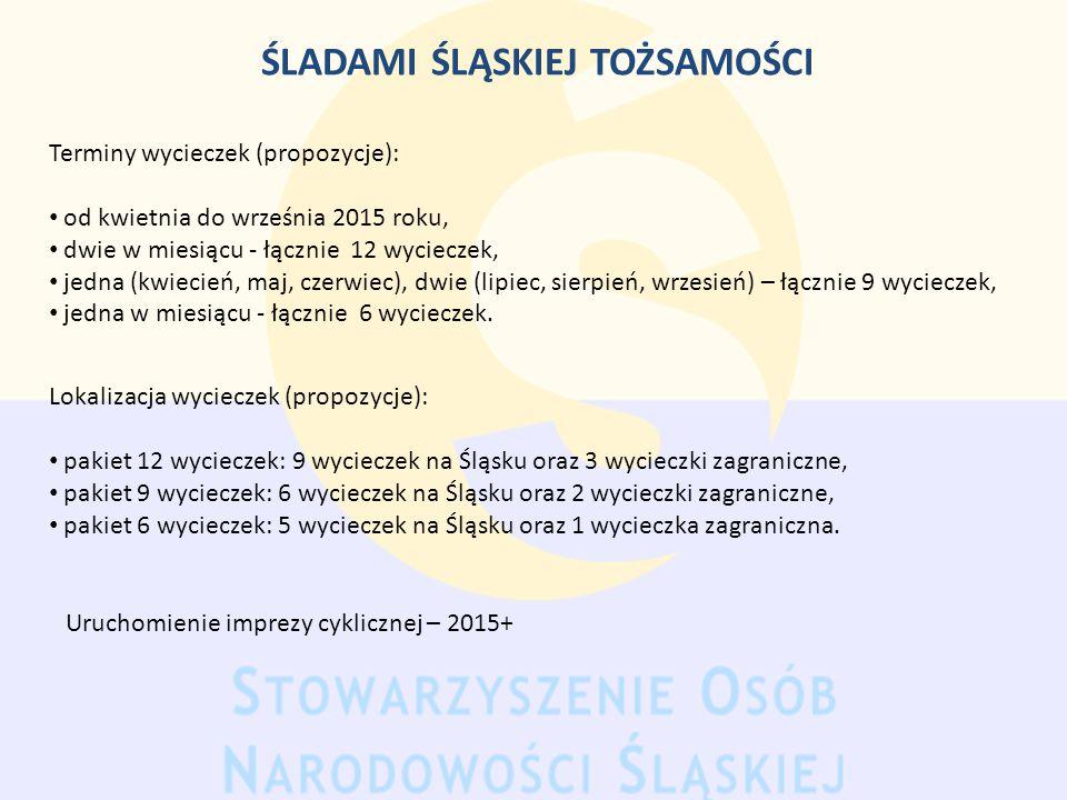 ŚLADAMI ŚLĄSKIEJ TOŻSAMOŚCI Terminy wycieczek (propozycje): od kwietnia do września 2015 roku, dwie w miesiącu - łącznie 12 wycieczek, jedna (kwiecień