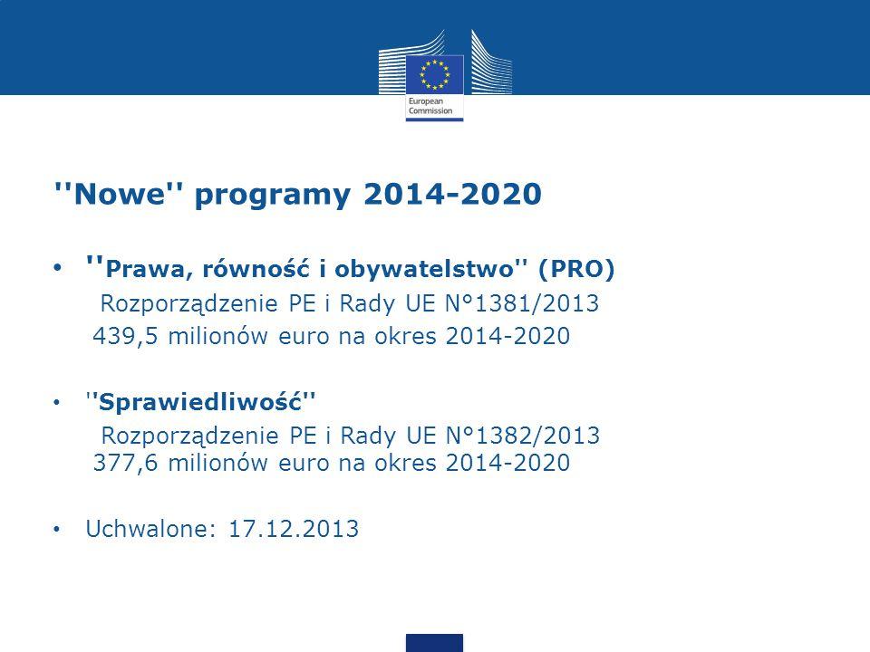 Nowe programy 2014-2020 Prawa, równość i obywatelstwo (PRO) Rozporządzenie PE i Rady UE N°1381/2013 439,5 milionów euro na okres 2014-2020 Sprawiedliwość Rozporządzenie PE i Rady UE N°1382/2013 377,6 milionów euro na okres 2014-2020 Uchwalone: 17.12.2013