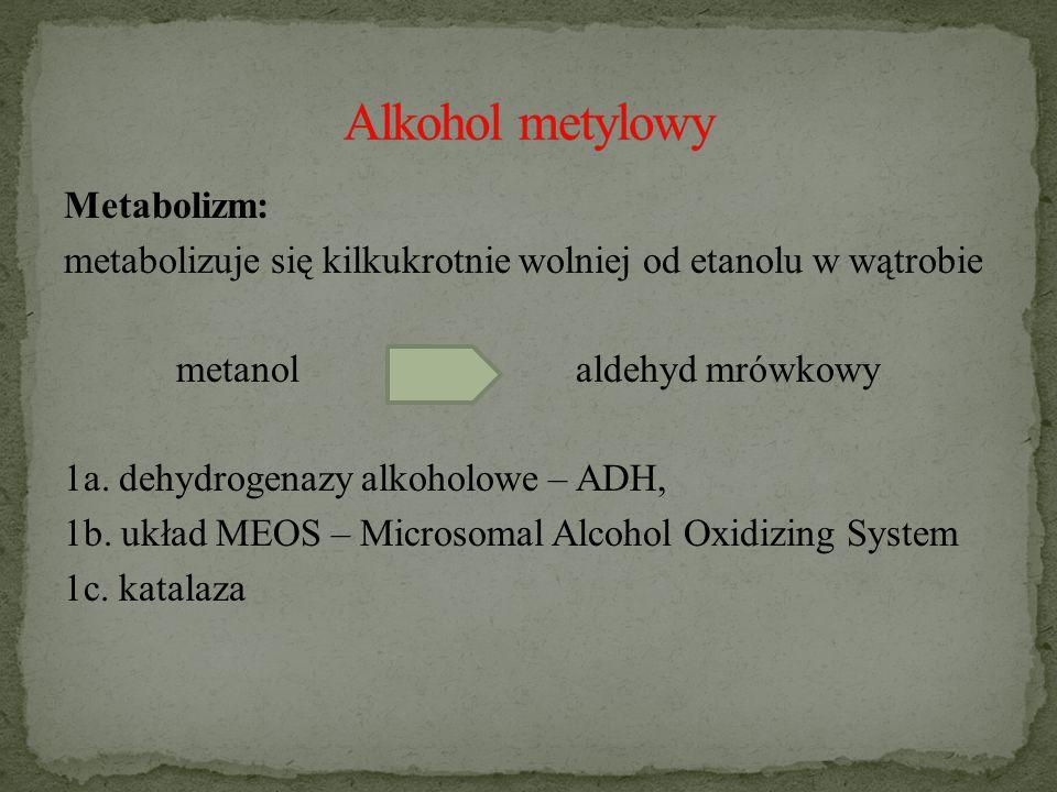 Metabolizm: metabolizuje się kilkukrotnie wolniej od etanolu w wątrobie metanol aldehyd mrówkowy 1a.