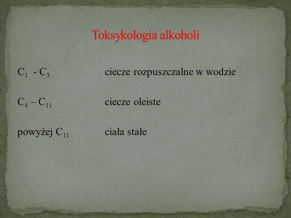 C 1 - C 3 ciecze rozpuszczalne w wodzie C 4 – C 11 ciecze oleiste powyżej C 11 ciała stałe
