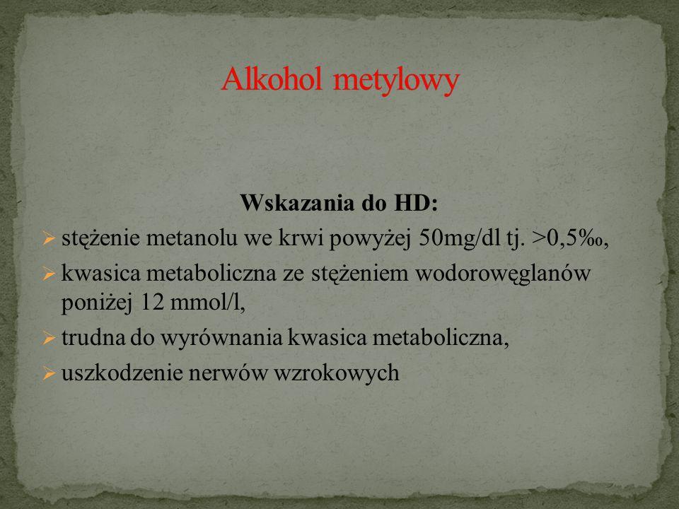 Wskazania do HD:  stężenie metanolu we krwi powyżej 50mg/dl tj.