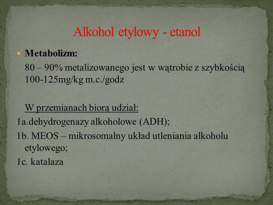 Metabolizm: 80 – 90% metalizowanego jest w wątrobie z szybkością 100-125mg/kg m.c./godz W przemianach biorą udział: 1a.dehydrogenazy alkoholowe (ADH); 1b.