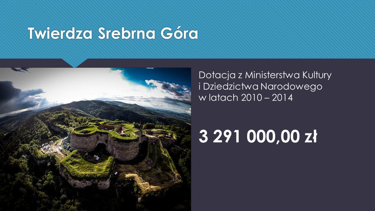 Twierdza Srebrna Góra Dotacja z Ministerstwa Kultury i Dziedzictwa Narodowego w latach 2010 – 2014 3 291 000,00 zł