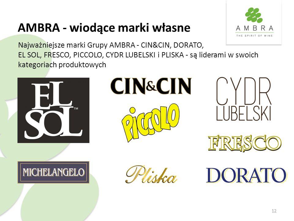 AMBRA - wiodące marki własne 12 Najważniejsze marki Grupy AMBRA - CIN&CIN, DORATO, EL SOL, FRESCO, PICCOLO, CYDR LUBELSKI i PLISKA - są liderami w swoich kategoriach produktowych