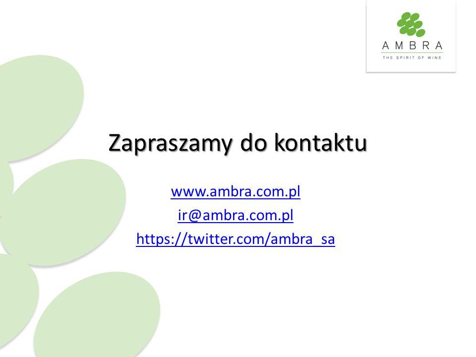 Zapraszamy do kontaktu www.ambra.com.pl ir@ambra.com.pl https://twitter.com/ambra_sa