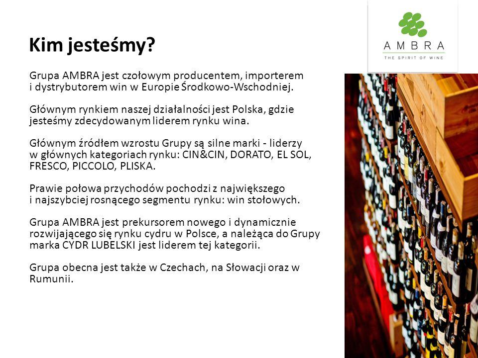 Kim jesteśmy? Grupa AMBRA jest czołowym producentem, importerem i dystrybutorem win w Europie Środkowo-Wschodniej. Głównym rynkiem naszej działalności