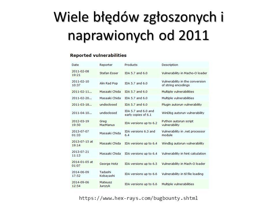Wiele błędów zgłoszonych i naprawionych od 2011 https://www.hex-rays.com/bugbounty.shtml