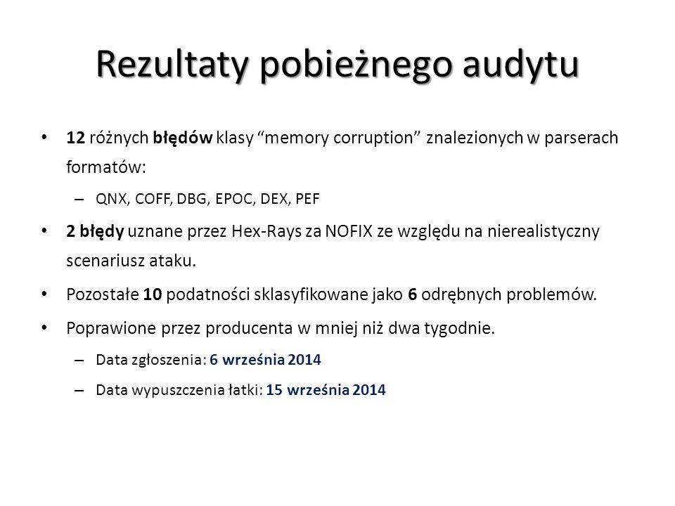 """Rezultaty pobieżnego audytu 12 różnych błędów klasy """"memory corruption"""" znalezionych w parserach formatów: – QNX, COFF, DBG, EPOC, DEX, PEF 2 błędy uz"""