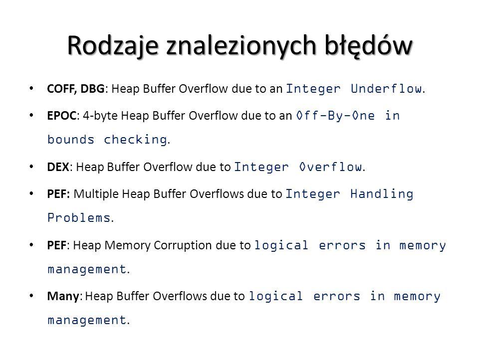 Rodzaje znalezionych błędów COFF, DBG: Heap Buffer Overflow due to an Integer Underflow. EPOC: 4-byte Heap Buffer Overflow due to an Off-By-One in bou