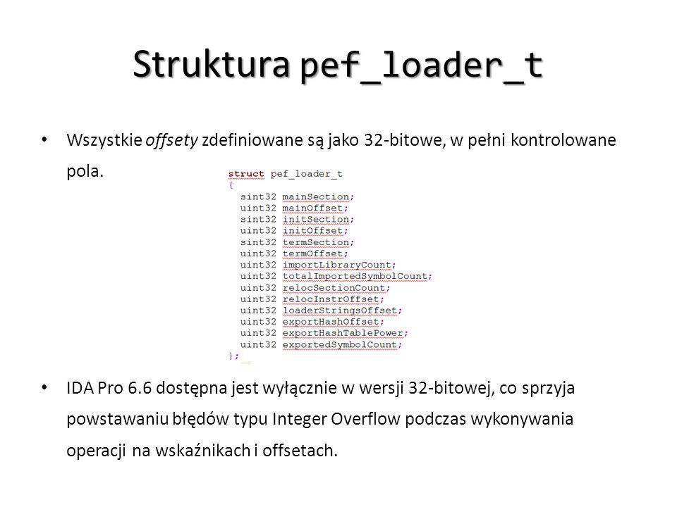 Struktura pef_loader_t Wszystkie offsety zdefiniowane są jako 32-bitowe, w pełni kontrolowane pola. IDA Pro 6.6 dostępna jest wyłącznie w wersji 32-bi