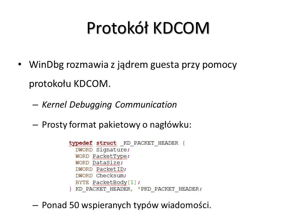 Protokół KDCOM WinDbg rozmawia z jądrem guesta przy pomocy protokołu KDCOM. – Kernel Debugging Communication – Prosty format pakietowy o nagłówku: – P