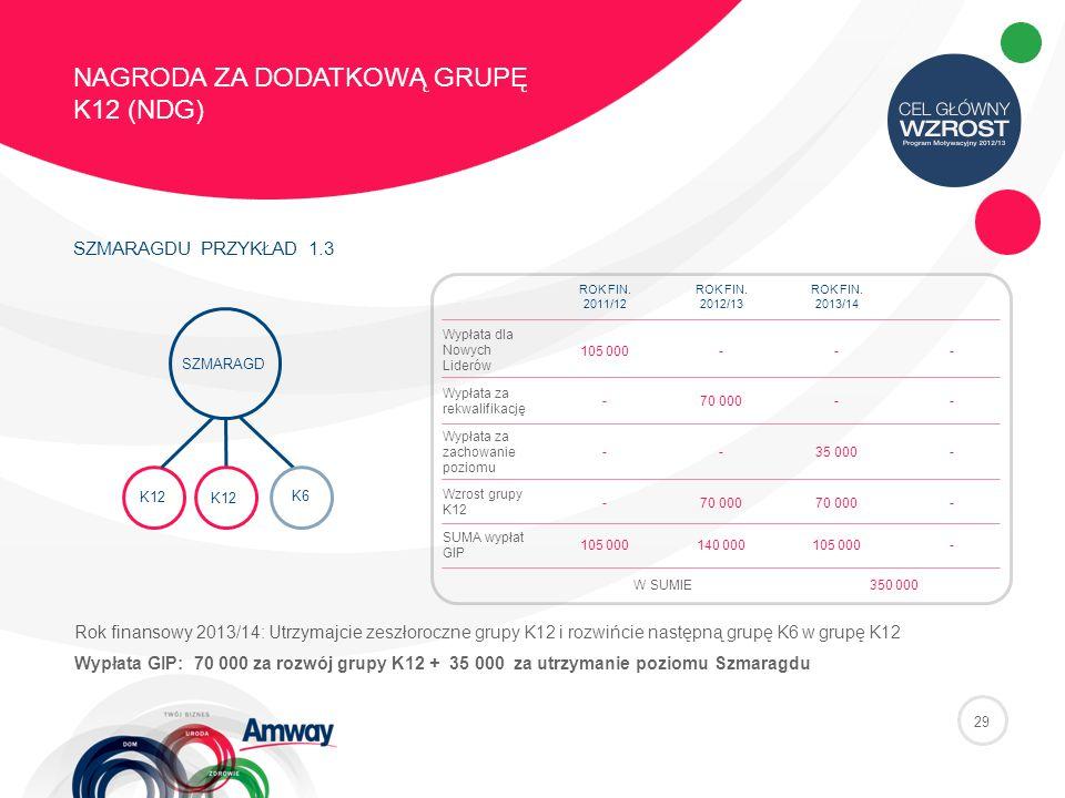 29 NAGRODA ZA DODATKOWĄ GRUPĘ K12 (NDG) SZMARAGDU PRZYKŁAD 1.3 K6K6 SZMARAGD K12 ROK FIN.