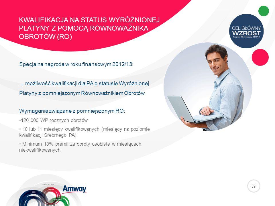 39 KWALIFIKACJA NA STATUS WYRÓŻNIONEJ PLATYNY Z POMOCĄ RÓWNOWAŻNIKA OBROTÓW (RO) Specjalna nagroda w roku finansowym 2012/13:...