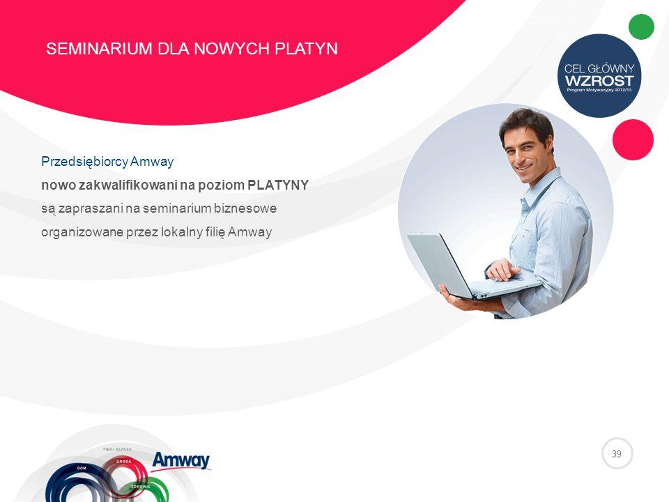 39 SEMINARIUM DLA NOWYCH PLATYN Przedsiębiorcy Amway nowo zakwalifikowani na poziom PLATYNY są zapraszani na seminarium biznesowe organizowane przez lokalny filię Amway
